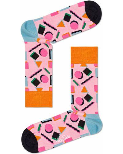 Розовые колготки с узором Happy Socks