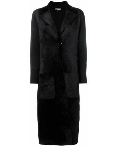 Однобортное черное кожаное длинное пальто Salvatore Ferragamo