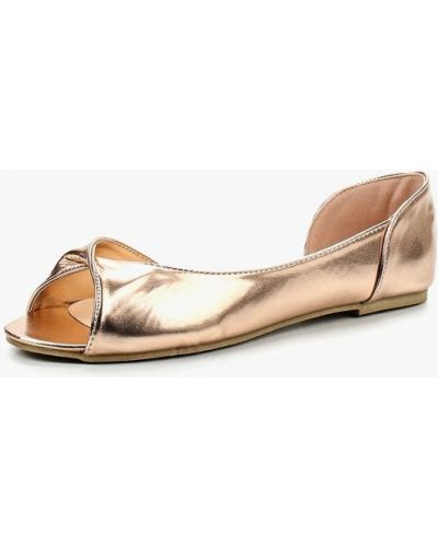 Кожаные балетки с открытым носком золотого цвета Stephan