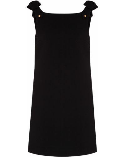 Черное платье мини на бретелях с бантом металлическое Miu Miu