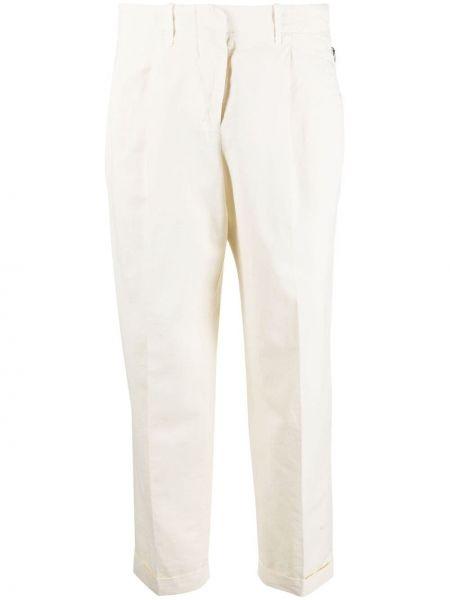 Льняные белые укороченные брюки с карманами Incotex