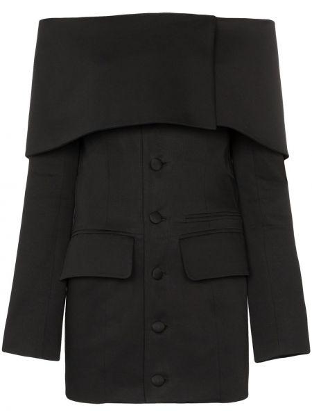 Черный пиджак с открытыми плечами на пуговицах Aleksandre Akhalkatsishvili