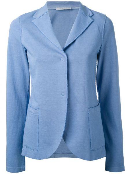 Хлопковый синий пиджак с накладными карманами Harris Wharf London