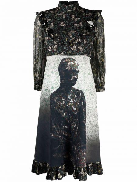 Черное расклешенное платье Undercover
