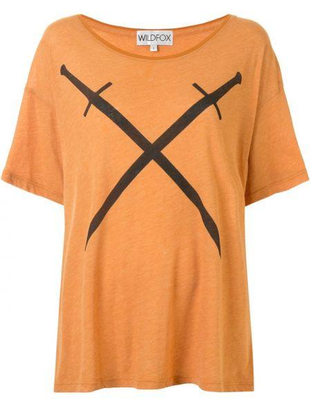 Czarny t-shirt bawełniany krótki rękaw Wildfox