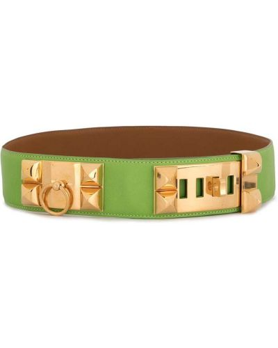 Зеленый кожаный ремень винтажный Hermès
