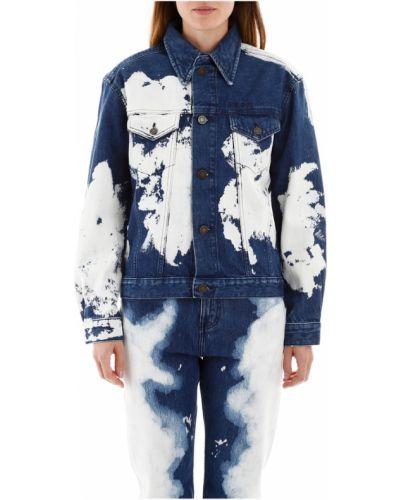 Niebieski kurtka jeansowa z kołnierzem z kieszeniami Calvin Klein