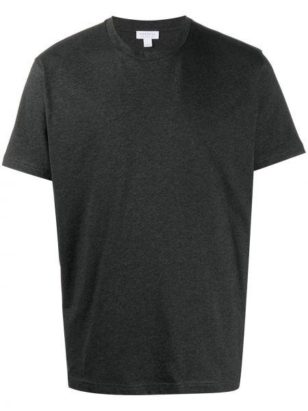 Хлопковая серая прямая футболка с круглым вырезом Sunspel