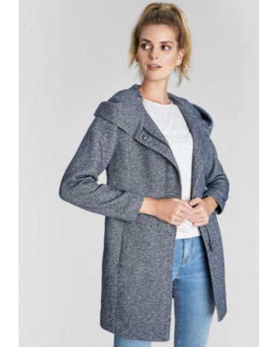 Синее приталенное пальто с капюшоном на молнии с капюшоном Ostin