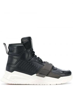 Кожаные массивные черные высокие кроссовки с нашивками Balmain