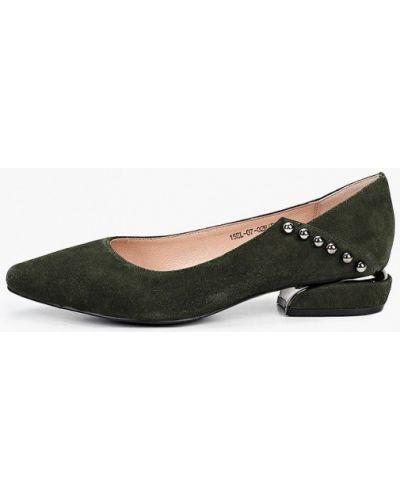 Велюровые зеленые туфли закрытые El'rosso