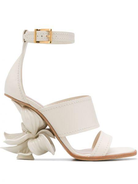 Sandały skórzany biały Alexander Mcqueen