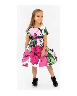 Платье с поясом с цветочным принтом сетчатое Gulliver Wear