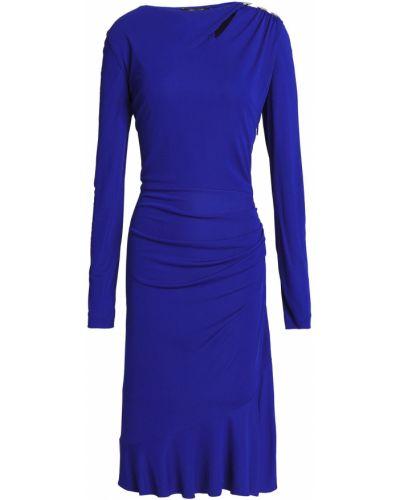 Платье макси с длинными рукавами - синее Roberto Cavalli