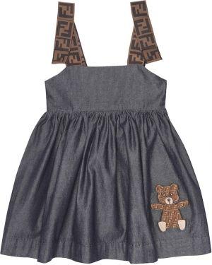 Летнее платье с вышивкой с принтом Fendi Kids