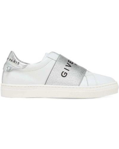 Z paskiem biały sneakersy z prawdziwej skóry na pięcie Givenchy