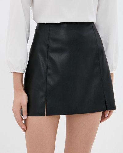 Кожаная черная юбка Pimkie