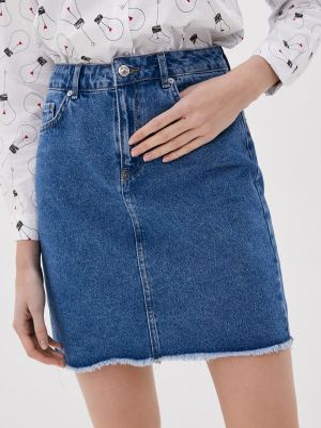 Джинсовая юбка синяя весенняя Defacto