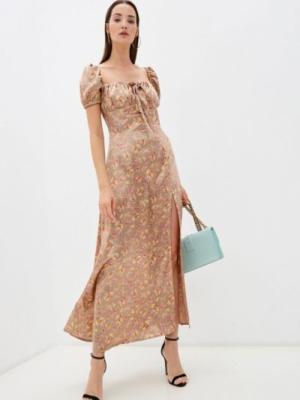 Платье с открытыми плечами - коричневое Imocean
