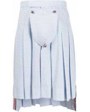 Приталенная синяя плиссированная юбка Thom Browne
