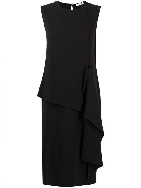 Асимметричное черное платье миди без рукавов P.a.r.o.s.h.