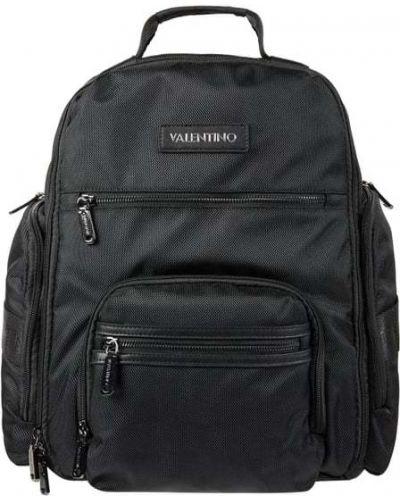 Czarny plecak na laptopa materiałowy w paski Valentino By Mario Valentino