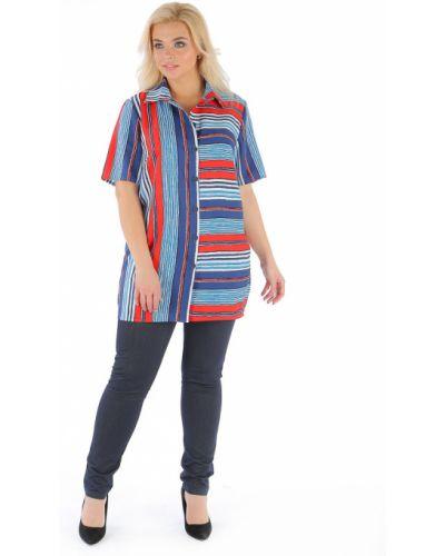 Блузка с коротким рукавом в полоску большой одевайте
