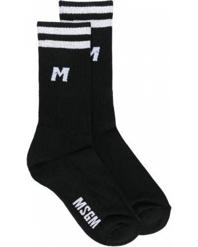 Черные хлопковые носки в полоску Msgm