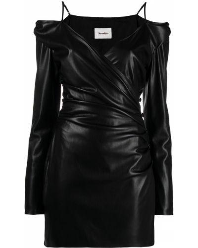 Черное кожаное платье макси с оборками Nanushka