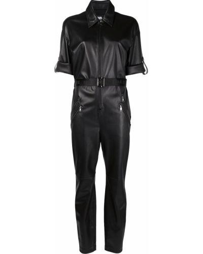 Кожаный черный комбинезон на молнии Karl Lagerfeld