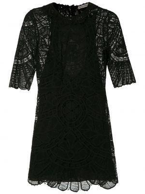 Черное прямое платье мини с вырезом с короткими рукавами Martha Medeiros