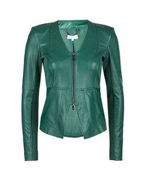 Кожаная куртка зеленая Patrizia Pepe