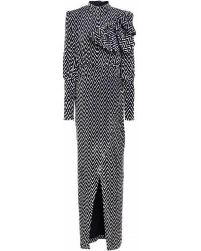 Черное бархатное платье макси Balmain