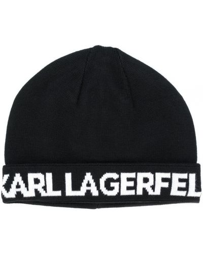 Хлопковая черная шапка бини с отворотом Karl Lagerfeld Kids