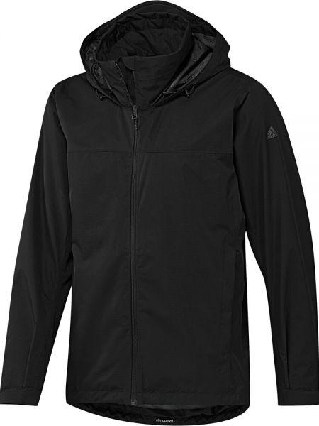 Черная куртка с капюшоном на молнии с манжетами с карманами Adidas
