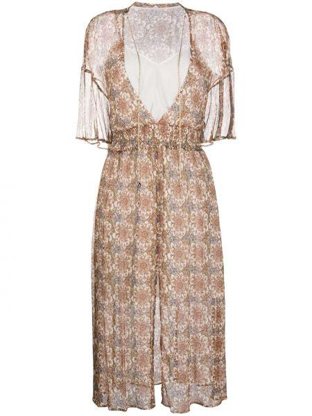 Платье миди с цветочным принтом с V-образным вырезом Patrizia Pepe