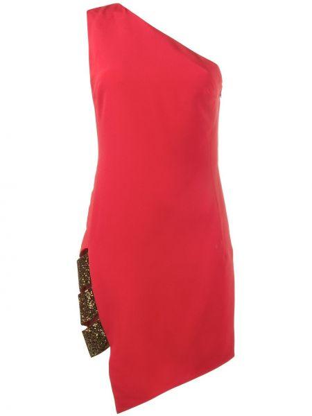 Красное шелковое платье на одно плечо Haney