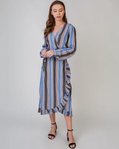 Синее платье с запахом в полоску Numph