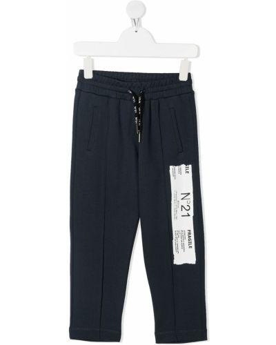 С кулиской синие брюки с карманами Nº21 Kids