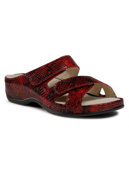 Czerwone sandały zamszowe Berkemann