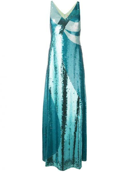 Шелковое вечернее платье с пайетками с V-образным вырезом на молнии Emilio Pucci