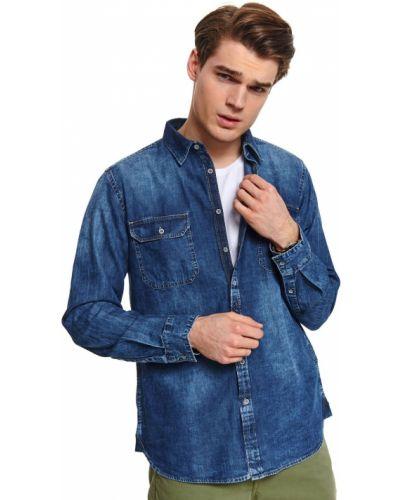 Niebieska koszula jeansowa bawełniana z długimi rękawami Top Secret