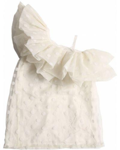 Текстильное белое платье с подкладкой с оборками Little Marc Jacobs