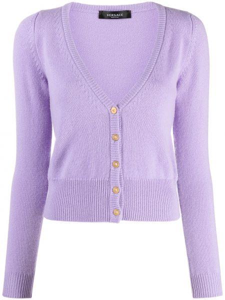 Фиолетовый кашемировый кардиган на пуговицах Versace