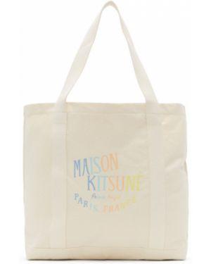 Bawełna biały torba na zakupy z płótna z kieszeniami Maison Kitsune