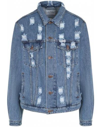 Джинсовая куртка с надписью свободная Forte Couture