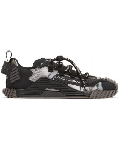 Нейлоновые черные кроссовки на каблуке с заплатками Dolce & Gabbana
