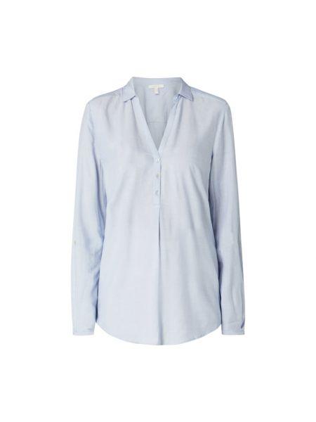 Niebieski bluzka z kołnierzem z wiskozy z dekoltem w szpic Esprit