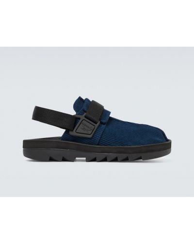 Zamsz z paskiem niebieski sandały na paskach Reebok