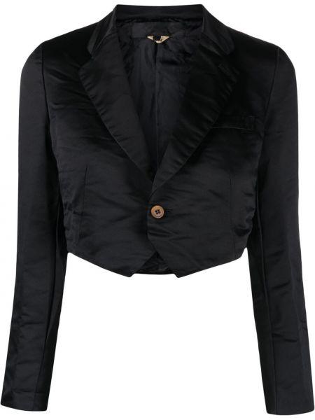 Черный удлиненный пиджак с карманами на пуговицах Comme Des Garçons Girl